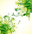 Green watercolor leaves vector image