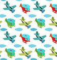 Seamless pattern with cartoon helicopters and vector image