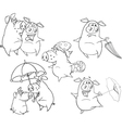 Set of Pigs Coloring book vector image vector image