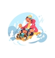 Dad and son sledding vector image