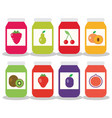 set from jars with fruit and berry jam vector image