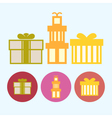 Set icons with gift boxes vector image
