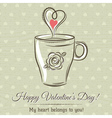 valentine card with cup of hot drink vector image