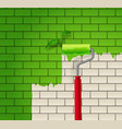 Brick wall which is painted in green color by roll vector image