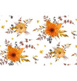 seamless floral pattern of orange yellow gerbera vector image vector image