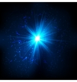 Blue shining cosmic flash vector image vector image