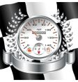white speedometer racing shield vector image vector image