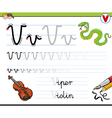 learn to write letter v vector image