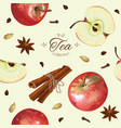 apple tea seamless pattern vector image