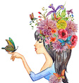 beautiful girl with flowers on her head watercolor vector image