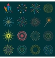 Firework icon set with petard stars Festival vector image