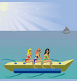 girls on an air inflatable raft vector image