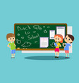 happy children stand by the school newspaper vector image