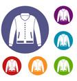 jacket icons set vector image
