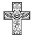 Monochrome Cross with winged sugar skull isolated vector image