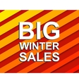 Red striped sale poster with BIG WINTER SALE text vector image