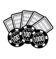 set poker chips and poker cards for casino games vector image