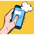 Smartphone In Hand Comic Style Design vector image