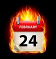 Twenty-fourth february in calendar burning icon vector image