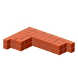 Brickwork Masonry bricks in half Construction of vector image