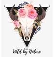 Buffalo skull decorated with flowers vector image