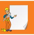 cartoon engineer blank paper vector image