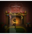Christmas decorated fireplace vector image