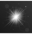 Light flare star explosion with glowing sparkles vector image