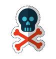 skull danger signal icon vector image