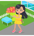 girl holds bouquet of flowers in her hands at yard vector image