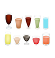 A Set of Refreshing Sweet Drink in Glass vector image