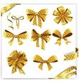 Set of gold polka dot gift bows with ribbons vector image