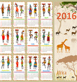 Ethnic Calendar for 2016 with beautiful African vector image vector image
