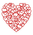 a big red heart made up of little hearts vector image