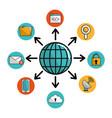 global internet digital service connect vector image