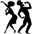 Singing duet silhouette vector image