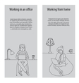Working in office and from home vector image