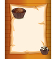 An empty stationery with two chocolate cupcakes vector image vector image