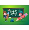 Back to school Cute schoolchild at a lesson near vector image