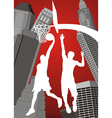 basketball player silhouettes vector image