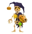 Skeleton in the hat of harlequin with pumpkin vector image