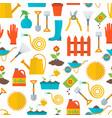 cartoon gardening equipment background pattern vector image