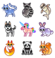 Cute cartoon animals icons set vector image
