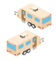 Isometric RV campers trailer RV travel campers vector image