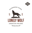 Old style wilderness label with wolf and vector image