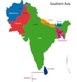 Southern Asia map vector image