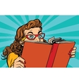 Young lady reading a book vector image