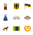 germany travel icons set flat style vector image