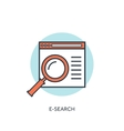 Flat lined loupe icon Web search vector image