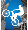 cyclist on a city background vector image